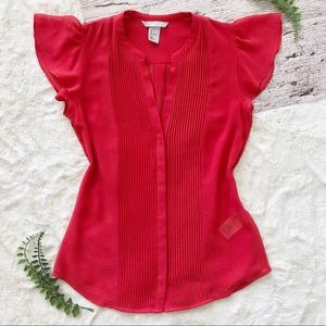 H&M • Flutter Sleeve Pleated Red Button Up Top